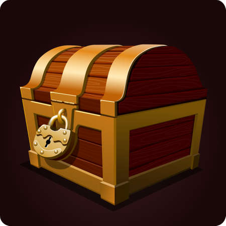 pirate treasure: chest icon game element vector Illustration