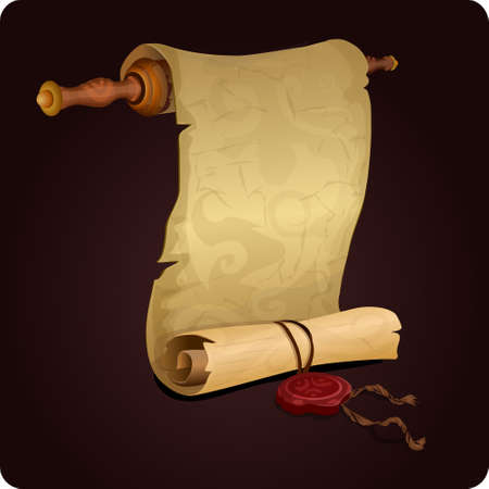 ancient scroll: scroll  icon game element vector