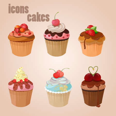 Icons cakes sweet chocolate dessert