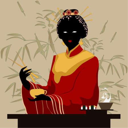 donna giapponese: illustrazione vettoriale donna giapponese
