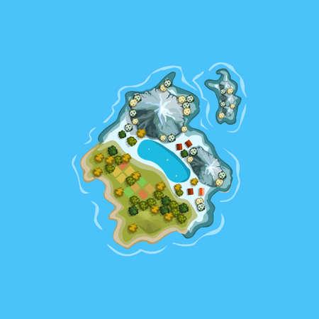 wave tourist: Island ocean sea map cartoon