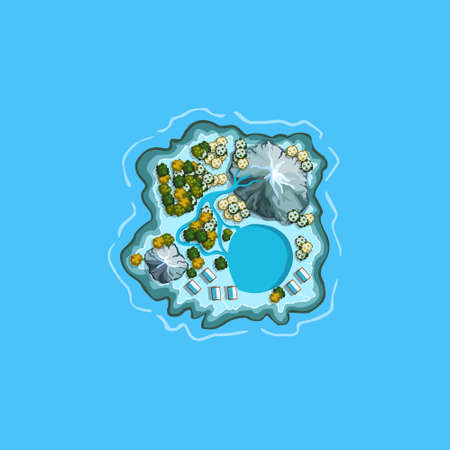 Island ocean sea map cartoon