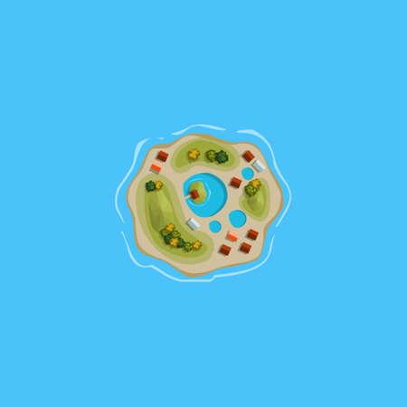 sun set: Island ocean sea map cartoon