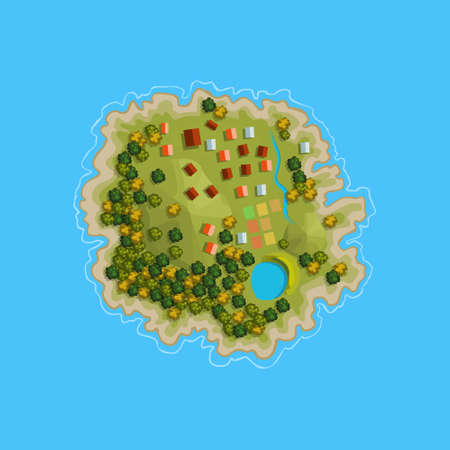 Island ocean sea map cartoon