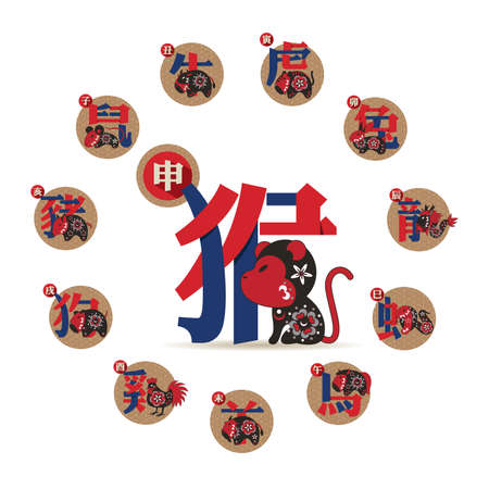 Set of Chinese zodiac signs. Twelve astrological symbols and their definitions.  イラスト・ベクター素材