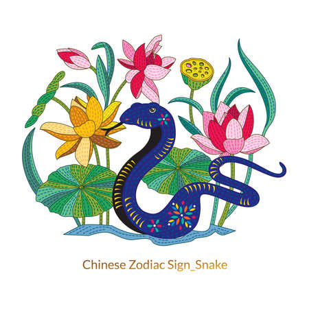snake calligraphy: 12 Chinese Zodiac Signs of Snake with chinese calligraphy text and the translation. Auspicious Chinese Seal top Good luck and happiness to you and bottom Snake.
