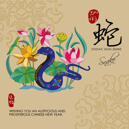 chinese zodiac: 12 Chinese Zodiac Signs of Snake with chinese calligraphy text and the translation. Auspicious Chinese Seal top Good luck and happiness to you and bottom Snake.