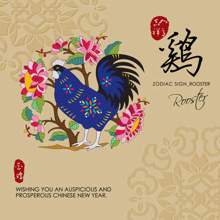 red sign: 12 Chinese Zodiac Signs of Rooster with chinese calligraphy text and the translation. Auspicious Chinese Seal top Good luck and happiness to you and bottom Rooster.
