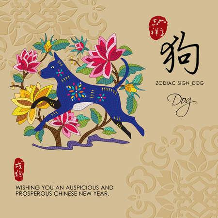 12 Signos del zodiaco chino de perro con el texto de la caligrafía china y la traducción. Auspicioso sello superior chino buena suerte y felicidad para usted y el perro inferior.
