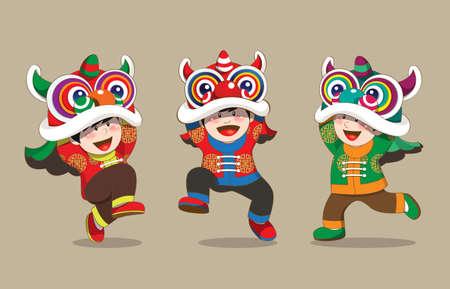 feliz: Niños jugando danza del león Vectores