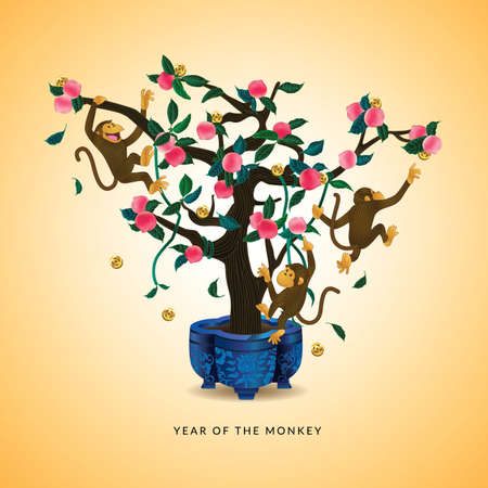 golden coins: Year of the Monkey and Longevity Peach tree