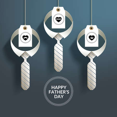 Happy Father's Day with Hanging Paper Craft Neck Tie and Tag. Suitable for Window Display, Holiday Card & etc.