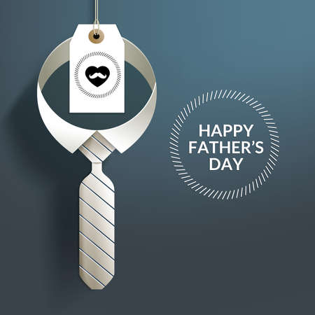 Happy Fathers Day with Hanging Paper Craft Neck Tie and Tag. Suitable for Window Display, Holiday Card & etc.