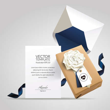 Gift Box with flower folded neck tie, hang tag, envelope and message card. Stock Illustratie