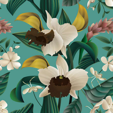 Tropical Floral Seamless Pattern.
