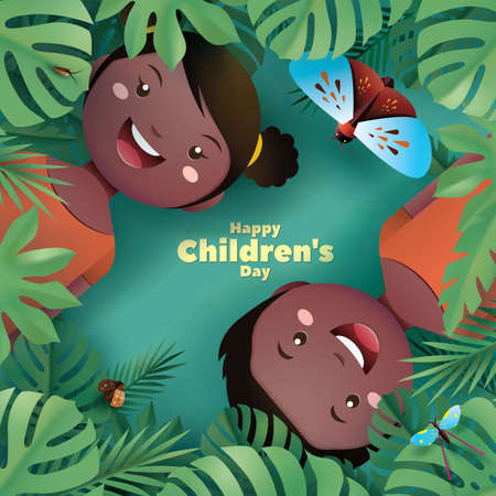 Happy Childrens Day Design. Children are very happy to experience the magic of rainforest.  イラスト・ベクター素材