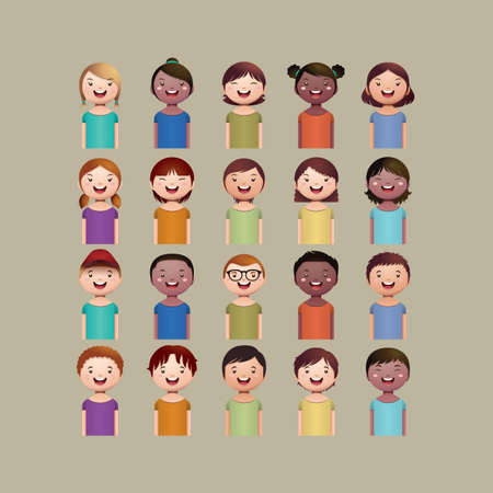 Set of cute boys and girls avatars. Different nationalities styles.