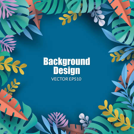 Tropical background. Composition with colorful tropical leaves Illustration