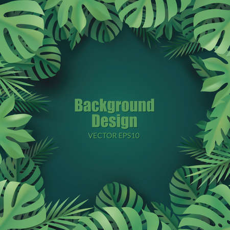 Tropical background. Composition with green tropical leaves