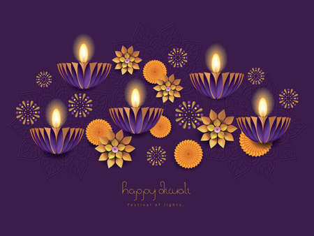 Happy Diwali / Deepavali hindu festival holiday design with paper cut style.