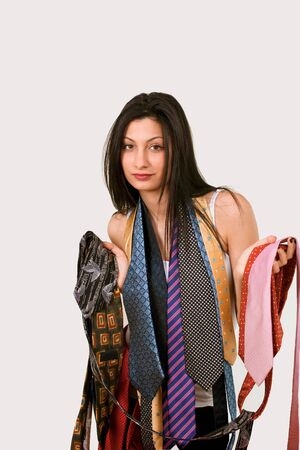 salesgirl: Cute salesgirl in menswear neckties, copy space Stock Photo