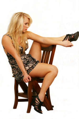 Blonde model posing with heels Stock Photo - 6868715