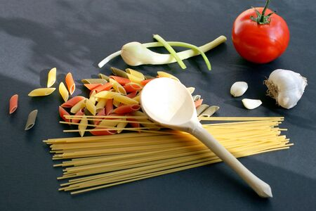Pasta with herbal ingredients, composition photo