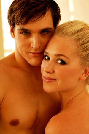sexual pleasure: Couple in love with bodies touching Stock Photo