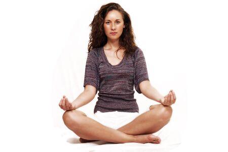 Girl in Yoga pose, horizontal copy space Stock Photo - 7561691