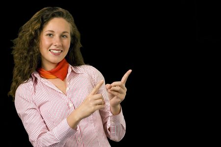 Smart professional girl gestures to copy space Stock Photo - 7594102