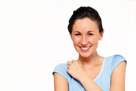 mischevious: Cute female laughing, with copy space Stock Photo
