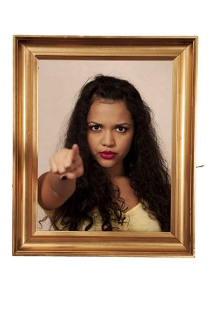 Girl points accusing finger, fake painting dark humor photo