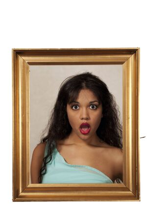 Girl with shocked expression, fake painting dark humor photo