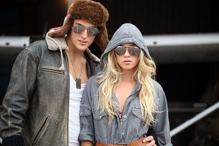 stylish women: Young aviation couple Stock Photo