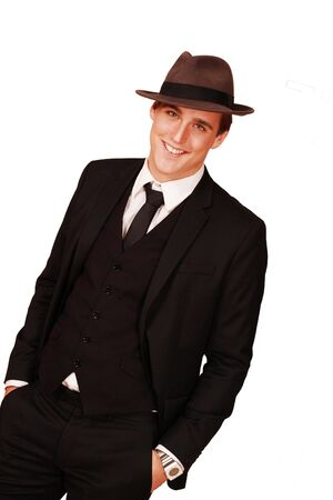 dapper: Handsome smiling man retro style Stock Photo