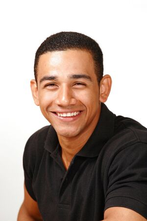 Laughing handsome latino male photo