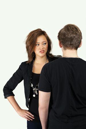 Young couple relationship in angry moment photo