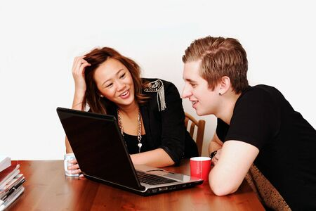 College students having fun on internet Stock Photo