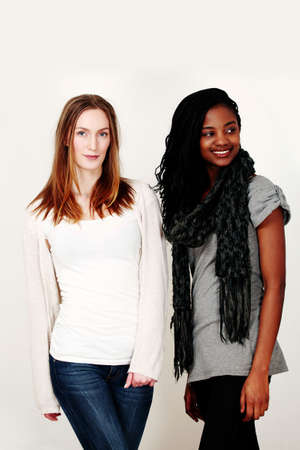 Two female fashion models in stylish casualwear Stock Photo - 8254301