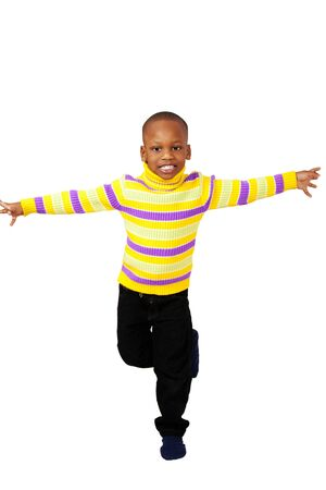 Cute playful young boy with copy space photo