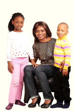 Smiling mommy with children in happy family portrait photo