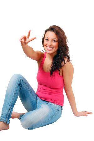 Smiling girl peace handsign Stock Photo - 8594646