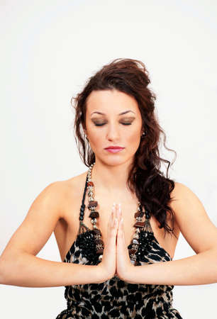 Prayer yoga meditation woman Stock Photo - 8715010