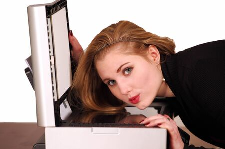 photocopier: Pretty girl with scanner photocopier Stock Photo