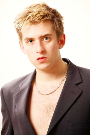 bare chest: Handsome young man fashion portrait Stock Photo