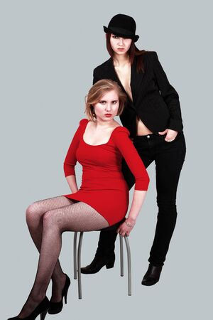 Females fashion attitude in trendy clothes photo