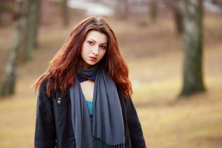 Young woman in nature park on cold morning Stock Photo - 9124067