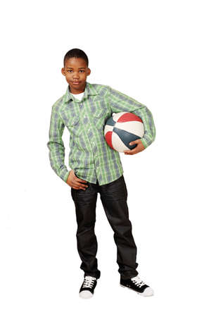 Sporty boy holding game ball Stock Photo - 9124068