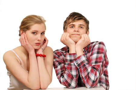 Nervous couple waiting for result photo