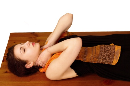 color healing: Reiki energy self-healing at neck position
